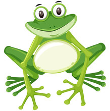 Cute Green Frog Character