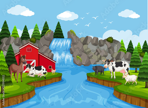 Farm scene with waterfall