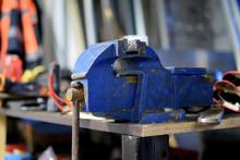 Bench Vice Close Up At Metal Workshop