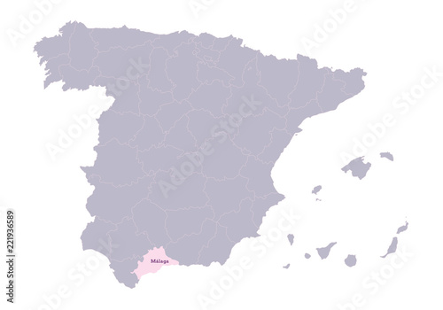 Spain Map Illustration Malaga Region Buy This Stock Vector And