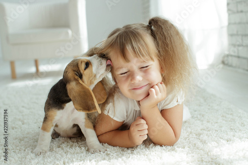 Child with dog Canvas Print