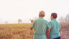 Asian Elderly Couple At Farm R...