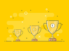 Set Of Standing Golden Trophy Cups With One Glowing. Trendy Flat Vector Light Bulb Icons With Concept Of Idea On Yellow Background.