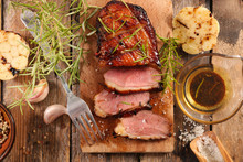 Duck Fillet With Garlic, Herb And Sauce