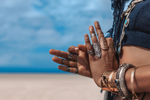 Close Up Of Stylish Tribal Dancer Hands. Woman In Oriental Costume Outdoors