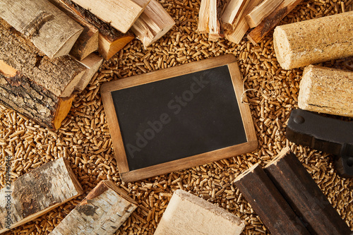 Overhead view of blackboard surrounded by logs