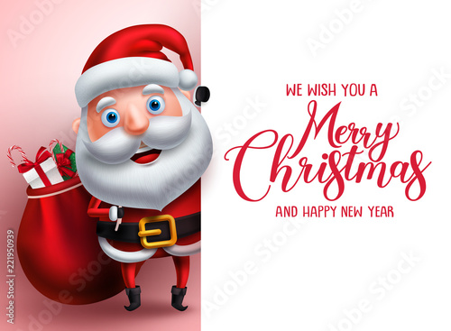 merry christmas greeting template with santa claus vector character carrying gifts showing empty white space for
