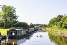 Narrow Boats On The Trent And Mersey Canal In Cheshire England UK