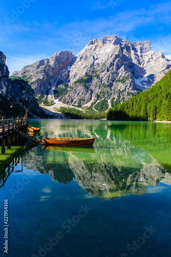 Keuken foto achterwand Meer / Vijver Lake Braies (also known as Pragser Wildsee or Lago di Braies) in Dolomites Mountains, Sudtirol, Italy. Romantic place with typical wooden boats on the alpine lake. Hiking travel and adventure.