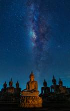 Buddha Statue And Milky Way At...