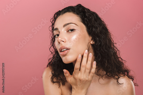 Beauty portrait of an attractive young topless woman