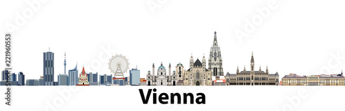 Vienna vector city skyline Wallpaper Mural