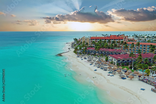 Aerial from Manchebo beach on Aruba island in the Caribbean Wallpaper Mural