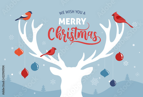 Fototapety, obrazy: Merry Christmas banner, Xmas template background with deer silhouette