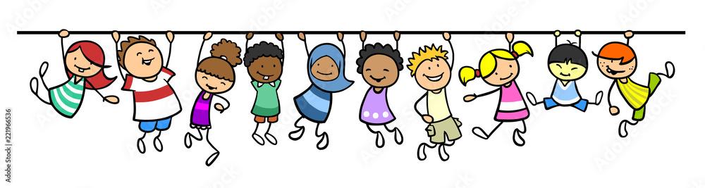 Fototapeta Kinder hängen an Linie als Trennlinie Dekoration