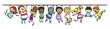 canvas print picture - Kinder hängen an Linie als Trennlinie Dekoration
