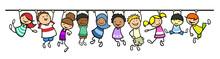 Kinder Hängen An Linie Als Tr...
