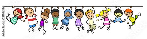 Leinwand Poster  Kinder hängen an Linie als Trennlinie Dekoration