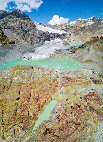 Foto op Plexiglas Gletsjers Alta Valmalenco (IT) - Vista aerea del ghiacciaio di Fellaria Orientale - settembre 2018