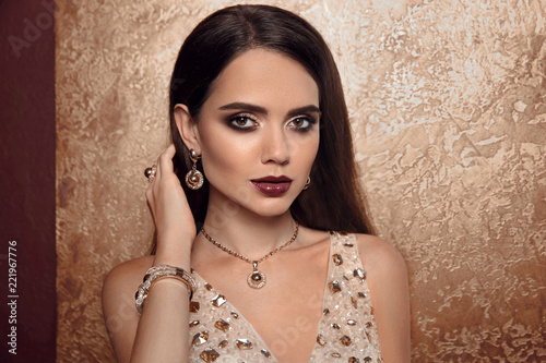 Jewelry Fashion Woman In Luxury Jewels Glamour Female Model With Beauty Face Makeup Wearing