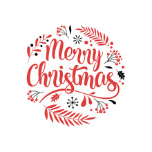 Merry Christmas Background With Typography, Lettering. Greeting Card, Banner And Poster