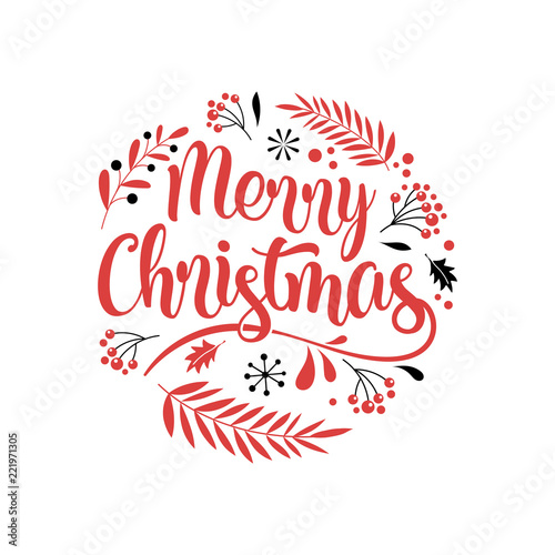 Merry Christmas Background with Typography, Lettering Canvas Print