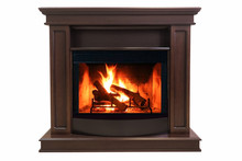 Brown Burning Fireplace Isolat...