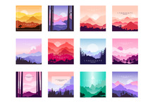 Set Of Beautiful Flat Cartoon Landscapes With Mountains, Hills And Forest. Natural Theme. Vector Collection Of Nature Backgrounds With Gradients.