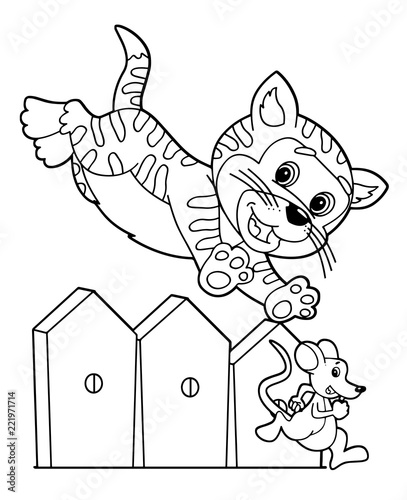 Tuinposter Doe het zelf cartoon scene with happy cat jumping over the wooden fence chasing mouse on white background - vector coloring page - illustration for children