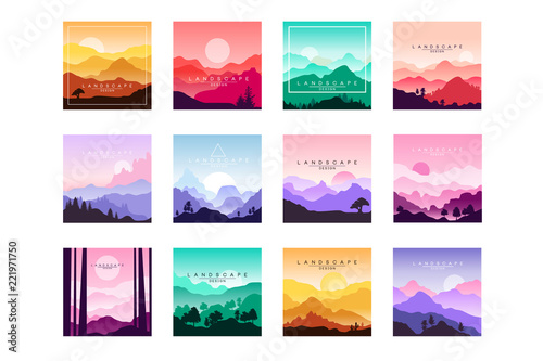 Fotobehang Wit Set of minimalistic flat original landscapes design with mountains, hills, forest. Vector collection of nature backgrounds with gradients.