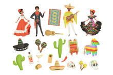 Set Of Cultural Symbols Mexico. Sombrero, Cactus, Poncho, Maracas, Taco, Pinata, Guitar, Skull. Hispanic Man And Woman In Traditional Costumes. Flat Vector Design