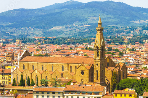 In de dag Havana Landscape view of the historic buildings of Florence, Italy on a sunny day.