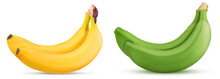 Two Yellow And Green Bananas