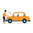 Car repair, tire fitting, oil change, breakage. Flat style vector illustration.