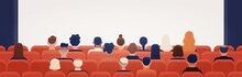 People Sitting In Movie Theater Or Cinema Hall And Looking At Projection Screen. Man And Women Watching Film Or Motion Picture. Back View. Colorful Vector Illustration In Flat Cartoon Style.