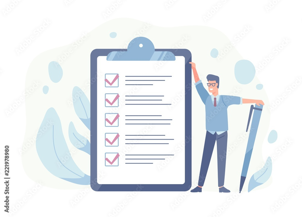 Fototapeta Smiling guy standing beside giant check list and holding pen. Concept of successful goal achievement, productive daily planning and task management. Colorful vector illustration in flat cartoon style.