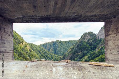 Poster Gris Vidraru lake Dam from bottom view