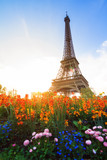 Fototapeta Paris - Beautiful spring sunset view of the Eiffel tower with flowers in the park in Paris, France