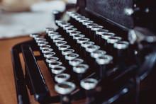 Closeup Keyboard Of Old Typewr...