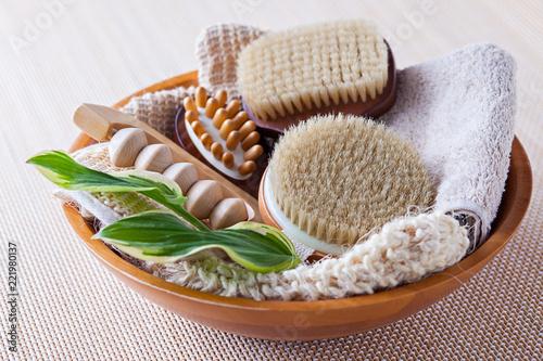 Fotografie, Tablou brushes for dry body massage