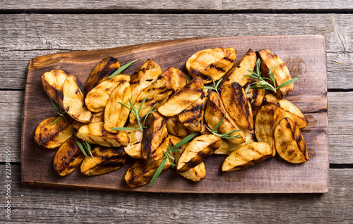 Homemade grilled potatoes with rosemary