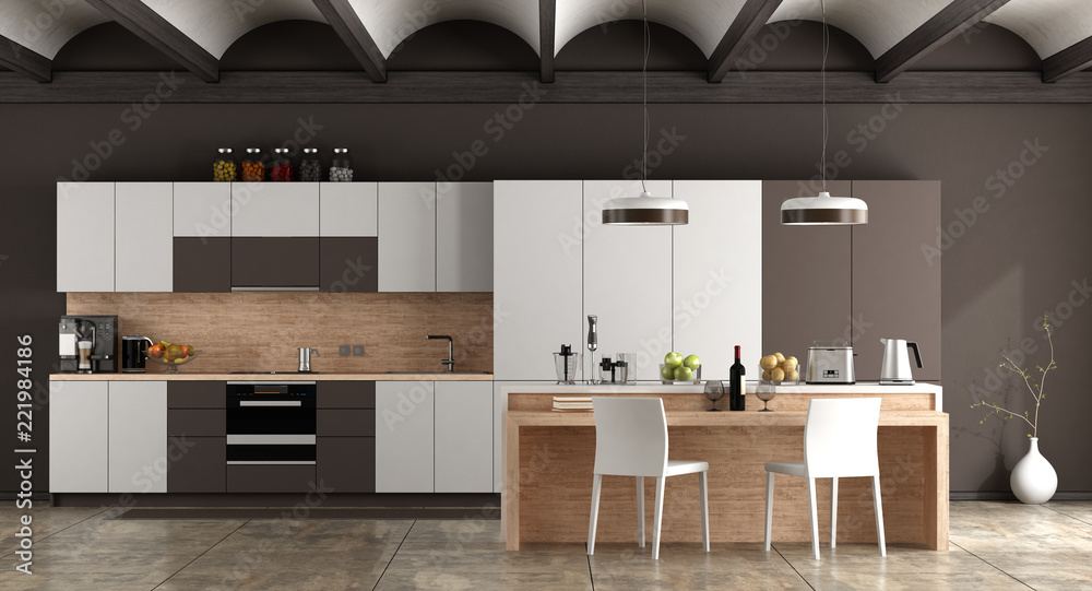 Fototapety, obrazy: White and brown contemporary kitchen
