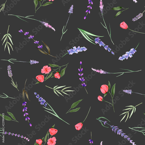 Obraz na plátně  Seamless pattern, ornament of watercolor floral elements (herbs, lavender, wildf