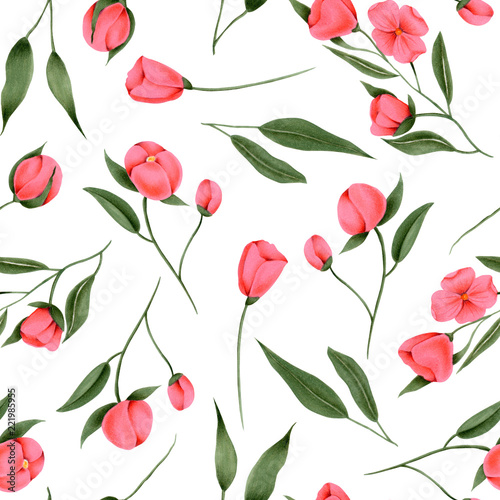 Seamless pattern of hand painted crimson flowers on a white background