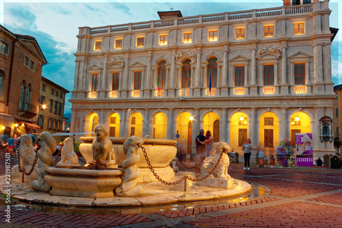 Fotografie, Obraz  Bergamo, Italy August 18, 2018: Nuovo Palace in the Cathedral Square