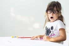 Oops! Shocked Child Learning In Classroom Or Elementary School. Preschool Kids.