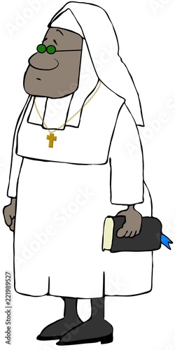 Illustration of a black nun wearing a white habit and holding a bible Wallpaper Mural