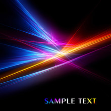 Abstract Bright Color Fractal On Black Background