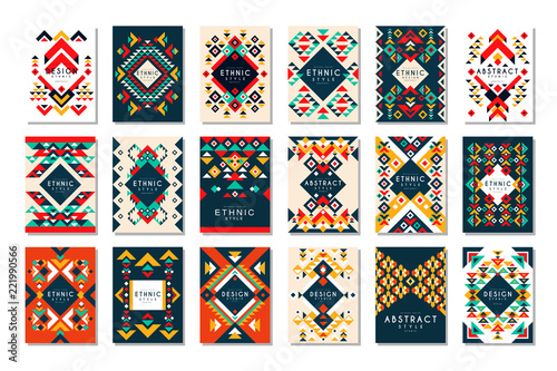 Obraz na płótnie Colorful vector set of 9 card templates with geometric shapes