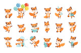 Fototapeta Fototapety na ścianę do pokoju dziecięcego - Cute little foxes showing various emotions and actions. Cartoon characters of forest animals. Flat vector design for mobile app, sticker, kids print, greeting card